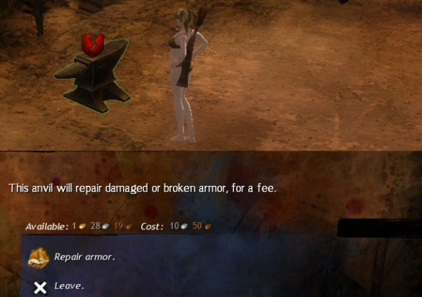 Question: Why am I paying an anvil to repair my gear? Better question: Why is our <em>cloth-armor</em> elementalist paying an <em>anvil</em> to repair their gear?