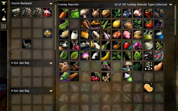 Guild wars 2 your first 10 levels twenty sided thats a picture of the slots just for food theres another bank of slots for raw building materials another for the odd knickknacks needed to make magic forumfinder Gallery