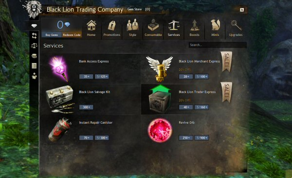 Note that the in-game store – where you buy goodies from ArenaNet for real money – is working just fine. This includes being able to pay real money that will give you access to a valet who will let you access the trading post while in the field. The BROKEN, useless trading post. Which means you can pay money to have someone deliver you an Out Of Order Message. Awesome. Note that this valet is <em>consumed</em> on use.