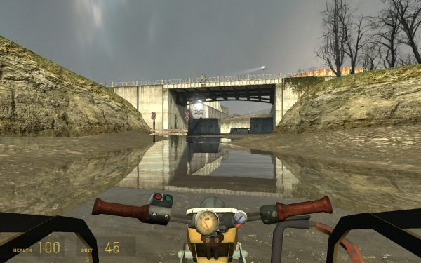 Many of the canal puzzles in Half-Life 2 revolve around creating or reaching ramps in order to proceed.