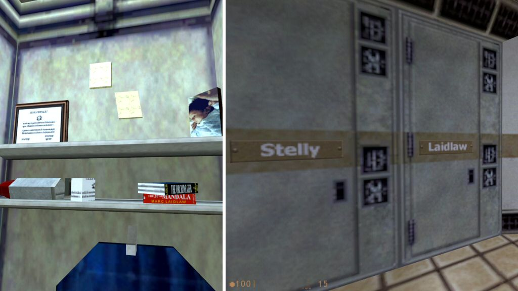 Left: During Half-Life 1, we find a book by Marc Laidlaw in Gordon Freeman's locker. Right: One of the other lockers is apparently owned by Laidlaw. Not sure what a black-site science lab needs a sci-fi writer for, but I hope they paid him well.