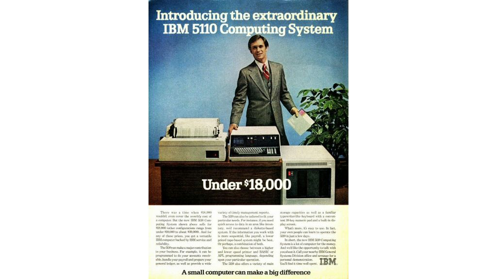 The IBM 5110, which came out in 1978. Sure, that screen seems small. But what do you expect for a lousy $18,000?