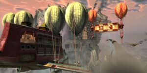 The floating Imperial Palace of Jade Empire was envisioned and realized without the use of art.