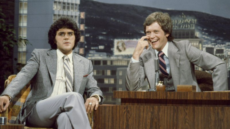Left: Jay Leno. Right: David Letterman. Everywhere else: Burn it all. The furniture. The suits. The haircuts. All of it.