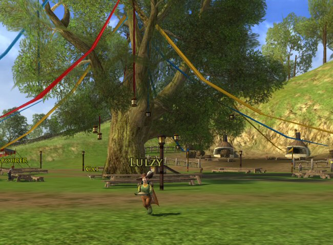 This is the party tree, but these decorations aren`t left over from Bilbo`s party. In the books,  Bilbo`s going-away party was, like, over a decade ago. These decorations are presumably from some other party.