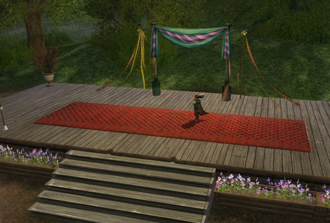 Steps, wood floor, carpet, banners, and streamers. Okay. Every single thing here is flammable.