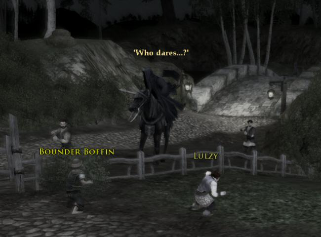 Humans on foot are accompanying a mounted Nazgul? That sounds pretty iffy to me. How do they keep up with the horse while also pissing themselves and sobbing?