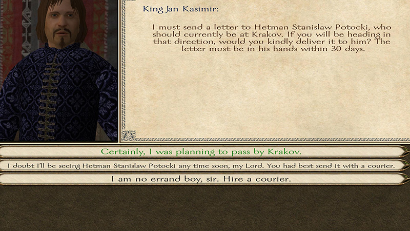 Here we have 'With Fire and Sword,' wherein the king of Poland asks me to deliver his mail. Complete this quest twice and you can buy the cheapest good in the game.