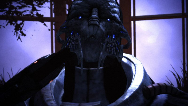 Saren performs an emergency RENEGADE INTERRUPT on himself.