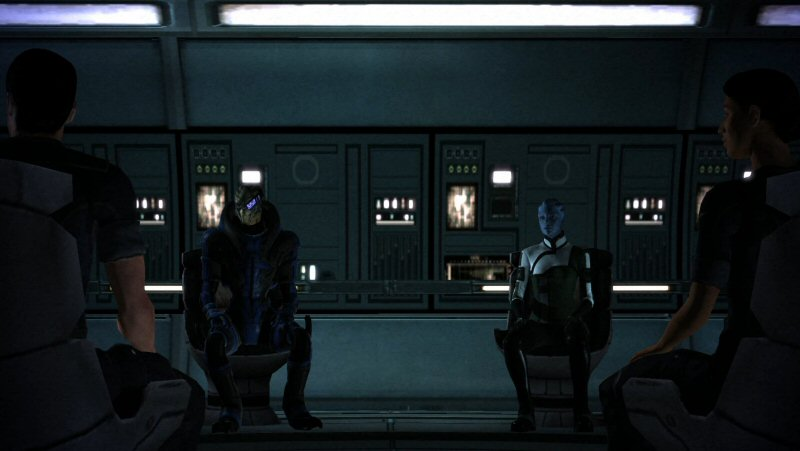 Given the way everyone is sitting, the Normandy must have the WORST chairs in the galaxy.