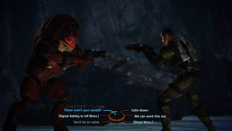This sequence actually works really well. Wrex has a good reason to be upset, and (paragon) Shepard has good reasons for him to back down that aren't some wishy-washy variant of, 'But we're friends!'. I love this confrontation from a story sense.