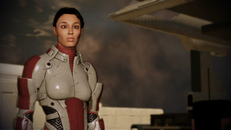 I did not tamper with the game or this cutscene in any way. Ashley really does go cock-eyed here for some reason.
