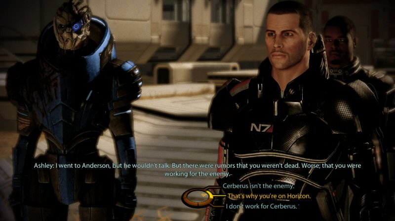 If you choose `I`m not working for Cerberus`, Shepard ACTUALLY says, `Cerberus and I want the same thing.` It`s like EVERYTHING in this scene is engineered to piss you off.