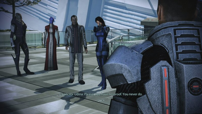 Is this a reference to Mass Effect 1? Because in ME1, Udina made unsupported accuasions against Saren, and Shepard is the one who got the proof to back it up. This is the most wrong person to deliver this line of dialog, particularly when the rest of the council is standing nearby.