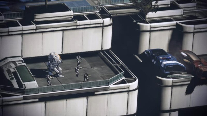 This tiny parking lot must be REALLY important to the Cerberus assault, because they dropped off 4 dudes and a mech, and it looks like they`re stuck there.