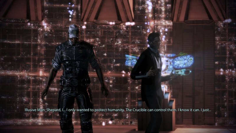 You technically win this argument, but it has nothing to do with your choices or ideas. After forcing you to argue ineffectually in previous arguments, the writer will now force TIM to have a crisis of faith in himself. Again, it's nothing really to do with Shepard. Anyone could have stood here and told TIM he's being a butthead.