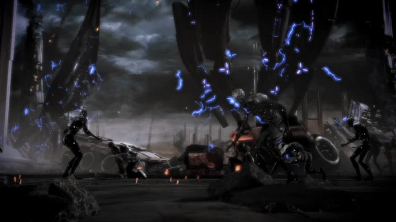 In the blue ending, husks stop attacking and come under control of Shepard. So great. We have the reanimated skeletons of our beloved standing around. Maybe we can get them to help rebuild? But I kind of feel like we should bury them? Shepard, I don't suppose you could STOP animating them?