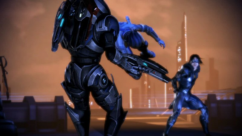 It's not just Shepard. The entire squad ends up standing around, holding the wrong weapons, not using their powers, not firing their guns, and basically waiting for their turn as punching bag.