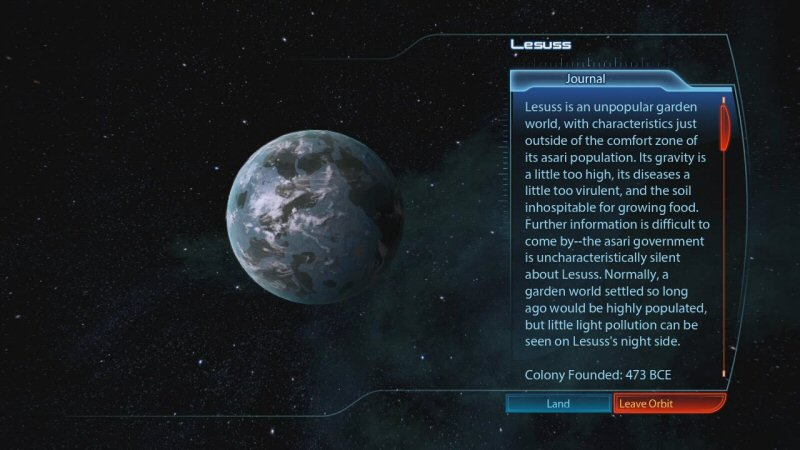 I like how the climate of this planet shaped its development. More thought was put into the history of Lesuss than was put into the entire colony of Horizon in Mass Effect 2.