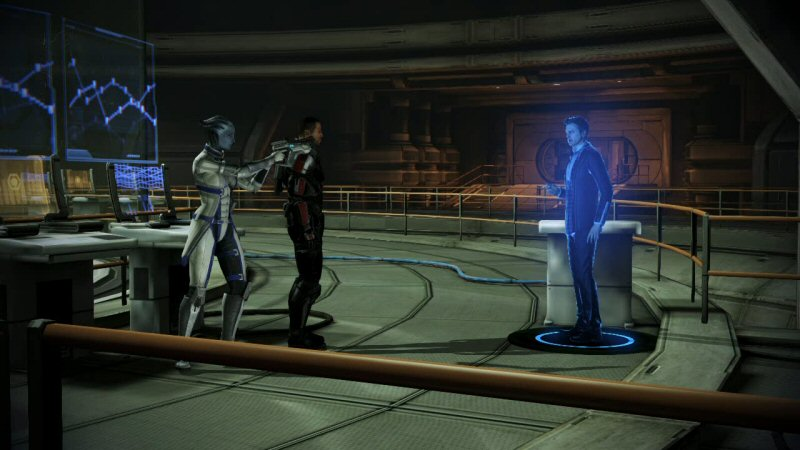Liara, please stop pointing your gun at an obvious hologram. You're embarrassing the squad, the player, BioWare, and yourself.