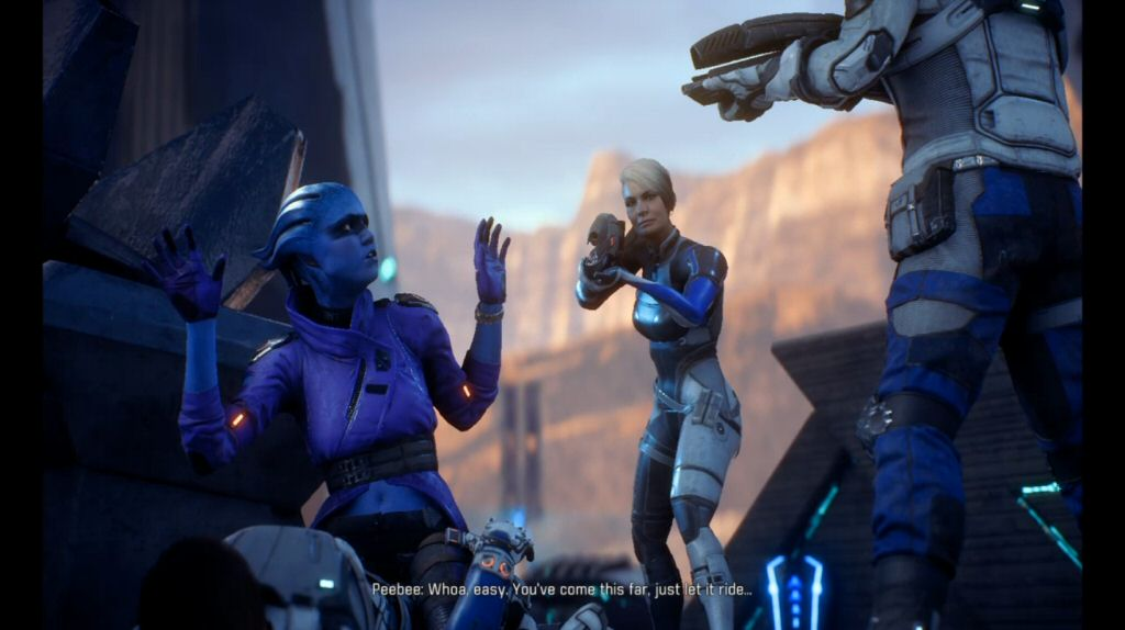 "What? ""Let it ride""? This is Peebee's introductory line? Why does the dialog in this game feel like an awkward translation? This dialog is making my face tired."