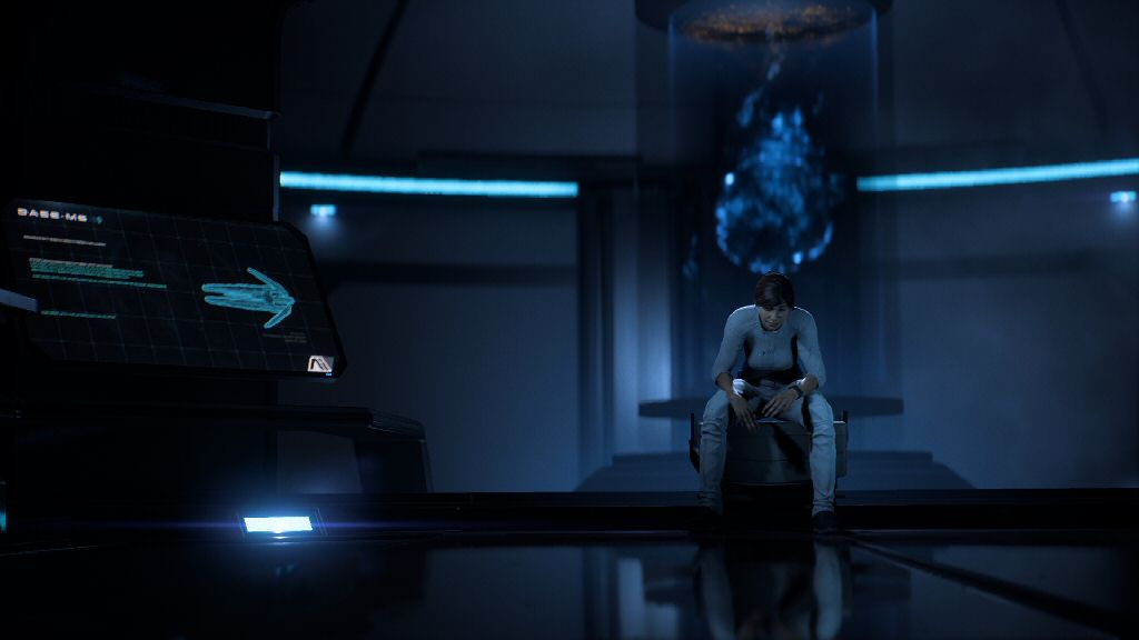 Okay, her butt is floating above the seat and her arms are floating above her legs and the pose looks totally unnatural, but I'd gladly overlook failings in production values if the writing could just get in the same ballpark as Mass Effect 1.