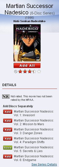 Netflix: Martian Succesor Nadesco disc 5 not available