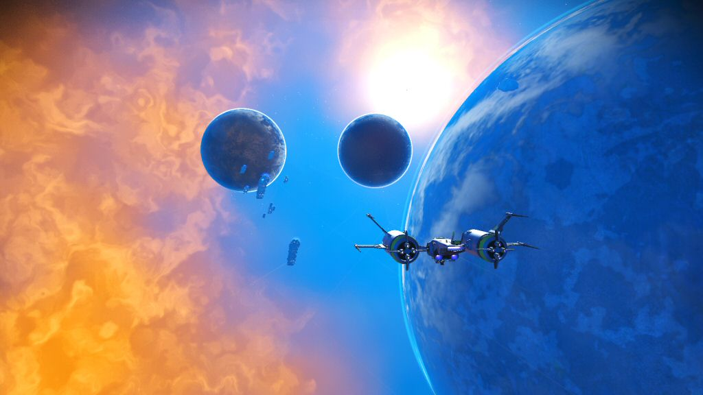 Visually, this is my favorite star system so far. The game managed to procedurally generate a super-saturated orange and blue motif. Also, the screenshot feature in this game is REALLY good.