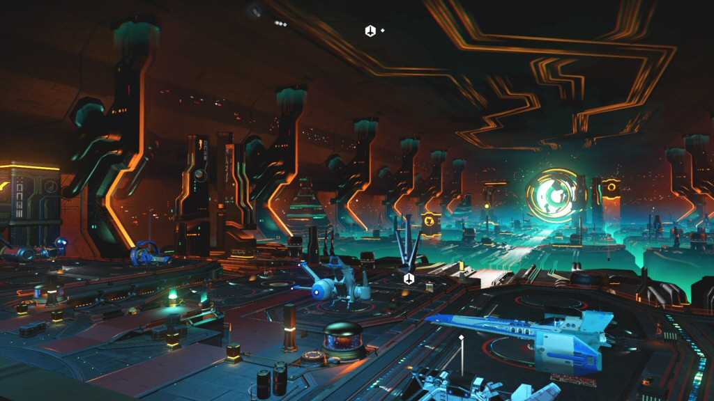 This is the coolest parking lot I've ever seen in a video game. These are all player-owned ships.