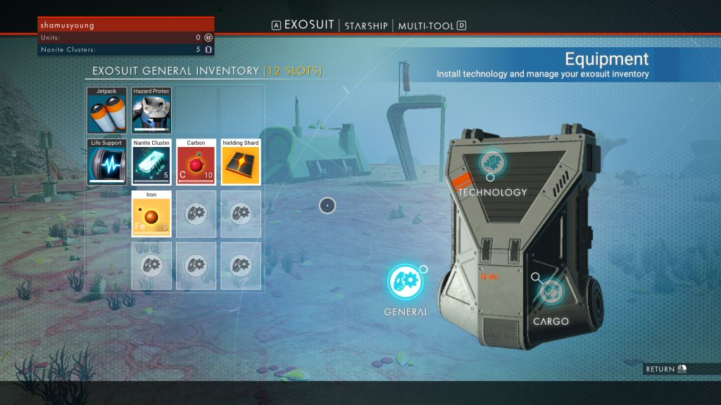 This is your starting inventory. The three items in the upper-left are devices that can`t be moved. The rest of the slots are for storing stuff.