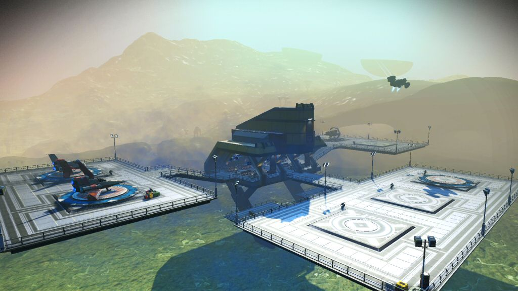 In survival mode, you REALLY want to try to park your ship at a landing pad. Taking off from the ground eats a ton of fuel and you're not going to want to do it unless you have to.