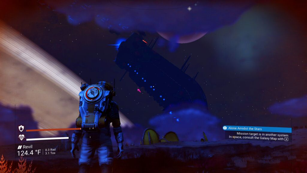 This is either a REALLY small planet or that's a RIDICULOUSLY big ship. Either way, cool view.