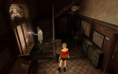 Schools.  They don't make 'em like they used to.  Staircases are like rollercoasters: The fancy metal ones just don't have the charm of their wooden ancestors.  Note the textured wallpaper in the upper right. The level designers did their homework for this game.