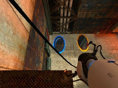 9.8m/s<sup>2</sup>.  I&#8217;m looking down from a ledge into a pair of portals on the floor.  Looking down into the orange on I see the view looking up from the blue, and vice-versa. If I jump into the blue one I&#8217;ll come sailing out of the orange one feet-first. It&#8217;s disorienting, but fun.