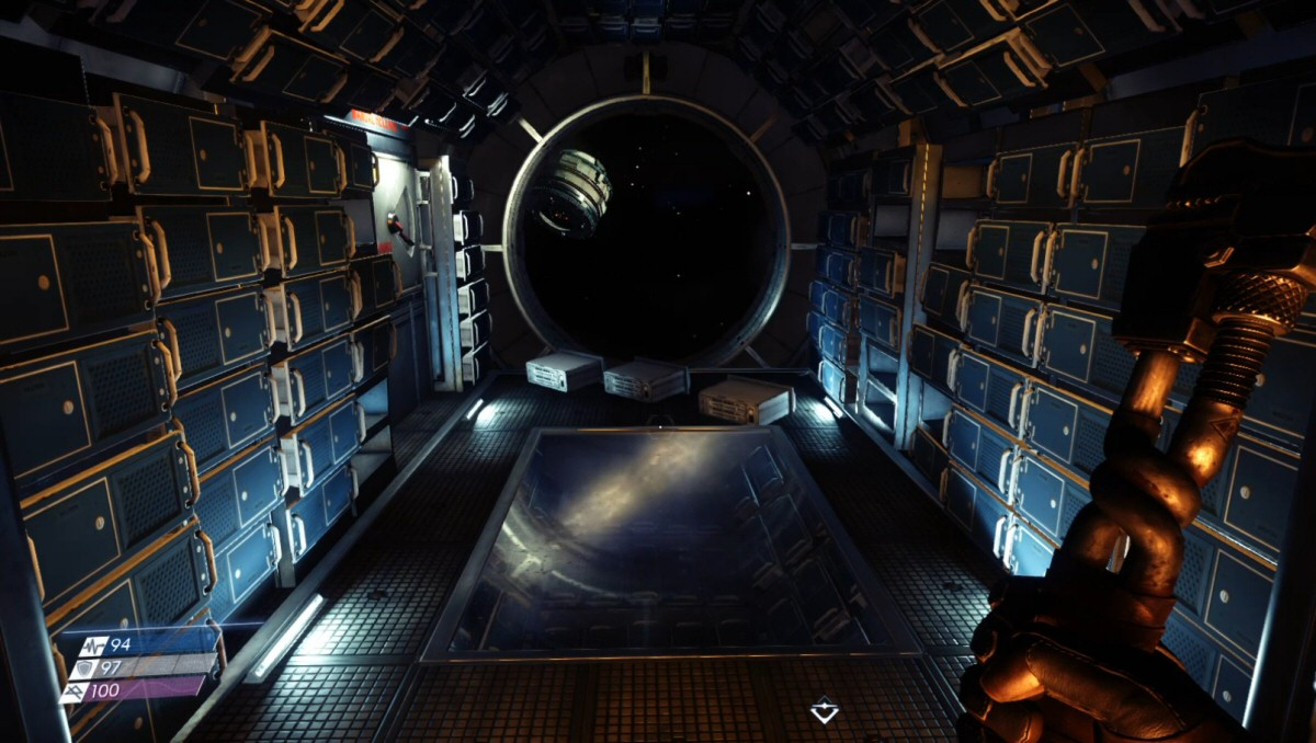 Morgan escapes by climbing into this data vault and ejecting it from the station.