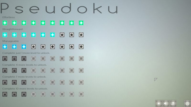 The main menu. Each square represents a puzzle.