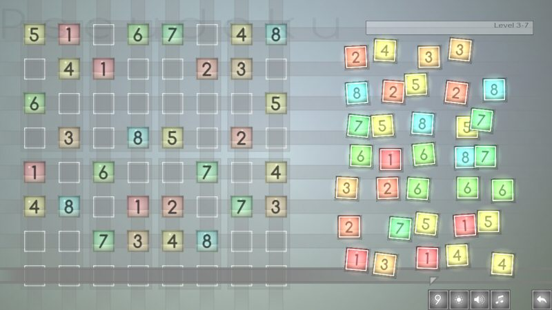 One of the mid-tier sudoku-style puzzles. This one is played with 8 tiles instead of the usual 9.