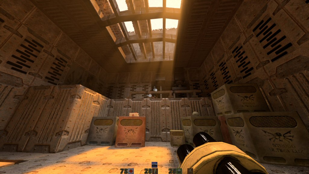 I can't show you a screenshot that will illustrate smooth framerate, so here is another shot of Quake 2 with raytracing.