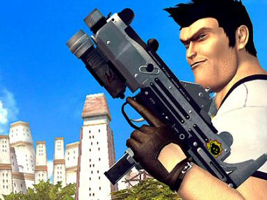 Serious Sam is a highly concentrated dose of the tough guy formula, although he's played for laughs and you're never expected to take him or his world seriously.  He's absurd , ridiculous, and over the top.