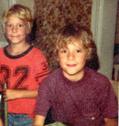 There are very, very few pictures of the Dark Year. That's my brother Patrick on the left, me on the right. I've been told that Cthulhu has that same wallpaper in his dining-room.