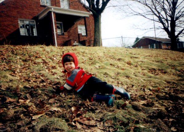 Rachel, playing in her new yard.