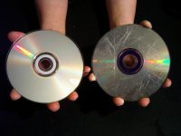 (Left) A normal Compact Disc<br /> (Right) The new Sony Unreadable Compact Disc