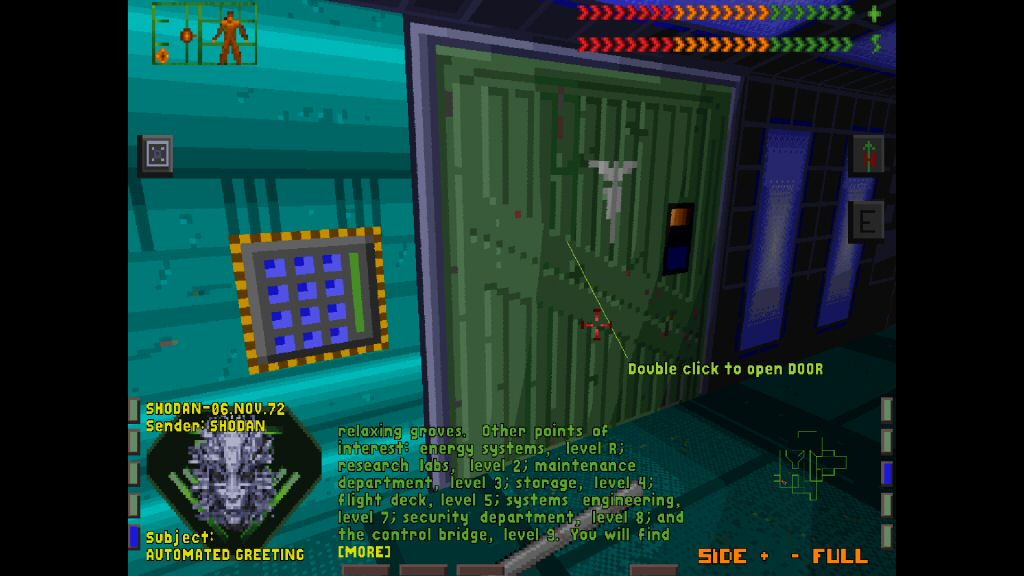 Yes, double-click to open the door. If there's any game that's in desperate need of a remake, it's this one. Also, note that keypad. That's the first appearance of the code 451 in a videogame.