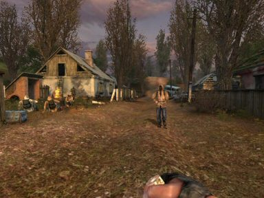 The small village at the start of the game.  It&#8217;s just <strong>packed</strong> with detail.  Aside from the mercs, it actually seems fairly authentic. The empty houses are sad and dreary.  It may not look it, but this is the most inviting place in The Zone.