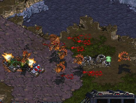 A familiar battle: Siege Tank vs. Mutalisk.  Also popular is the Valkyrie vs. Dragoon fight.  The Terran AI always seems to have the wrong unit, at the wrong time, in the wrong place, doing the wrong thing, and not nearly enough of them.