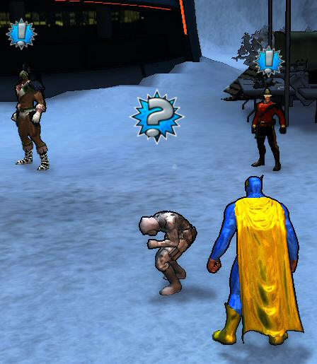 <strong>Left:</strong> Ravenspeaker, showing off what must be a world-class case of the goosebumps. <strong>Center:</strong> Lt. Fisher, who hangs around base coughing and asking superheroes to do his job.  <strong>Right:</strong> My Heroic self.  <strong>Top:</strong> Defying all expectations, the writers managed to <em>not</em> name this guy &#8220;Dudley&#8221;.