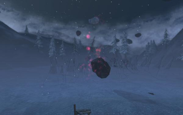 Floating asteroid-esque things. That's… odd.