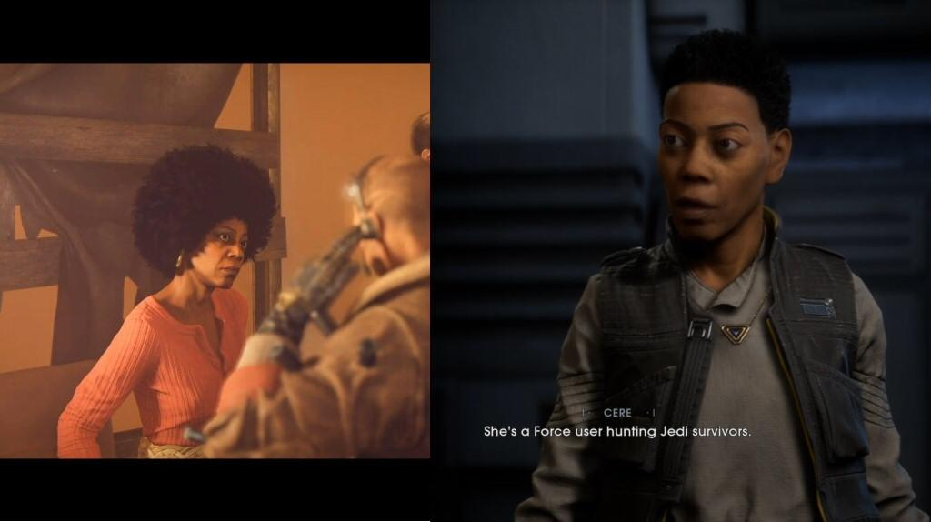 Left: Debra Wilson from Wolfenstein New Colossus. Right: Debra Wilson in SWJFO.