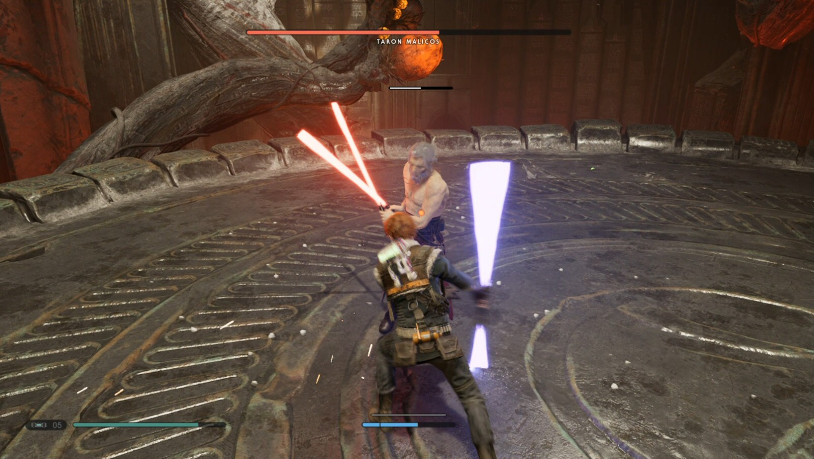 Twin sabers vs. dual sabers. Everyone needs a gimmick these days. Dear writers: Lightsabers are ALREADY cool. You don't always need gimmicks.