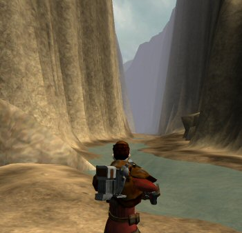 A hallway-styled canyon.  A world of fantastic spectacle this is not. If you are unfortunate enough to make the long pointless slog through this canyon, you'll find it ends – I kid you not – in a dead-end waterfall.  Turn around and walk all the way back.